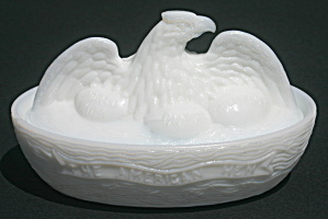 """the American Hen"" Milk Glass Covered Dish"