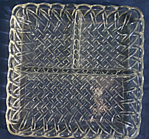 Clear indiana Glass Pretzel Square Divided Plate (Image1)