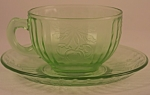 Click here to enlarge image and see more about item DG117: Hazel Atlas Glass Company Fruits Cup and Saucer