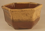 Click here to enlarge image and see more about item P114: Haeger Brown Six-Sided Bowl