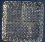 Click here to enlarge image and see more about item PDG173: Clear indiana Glass Pretzel Square Divided Plate