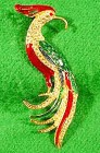 Exotic Bird Of Paradise Pin - Rhinestones & Enamel -Vtg