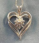 10K White Gold Heart Pendant - 18 inch Chain