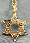 Star of David 14K Yellow Gold Pendant - 18 inch Chain