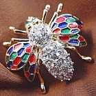 Enamel & Crystal Bug Insect Pin Brooch