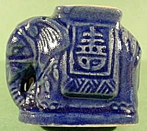 Cobalt Pottery Elephant Toothpick Holder - Korea