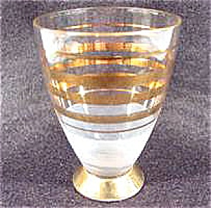Shot Glass ~ Footed ~ Gold Bands ~ Vintage (Image1)