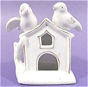 Doves On Bird House Porcelain Toothpick Holder
