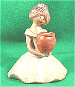 Pottery Girl Toothpick Holder - Vintage