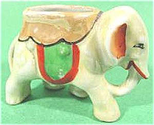 Lustre Elephant Porcelain Toothpick Holder - Japan