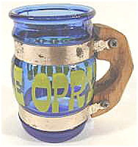 Grand Ole Opry Blue Glass Mug Toothpick Holder