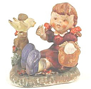 Vintage Hummel Look A Like Figurine - Girl and Bird - (Image1)