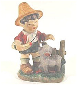Vintage Hummel Look A Like Figurine - Boy and Lamb - (Image1)