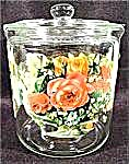 Glass Cookie Cracker Biscuit Jar - Floral Decal (Image1)
