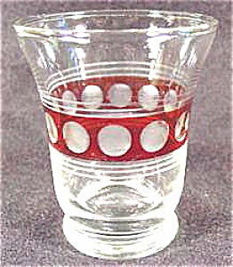 Cut Glass Juice Tumbler - Ruby Cut To Clear