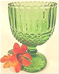 Pressed Glass Pedestal Vase Planter - Green