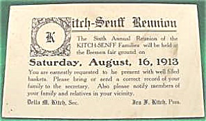KITCH SENFF Family Reunion Post Card ~ 1913 ~ (Image1)