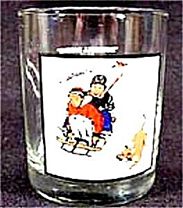 Norman Rockwell Winter Scene Drinking Glass -1979 Arbys