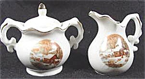Porcelain Sugar And Creamer - Currier And Ives