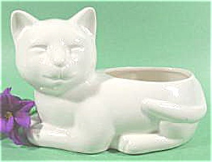 Artmark Ceramic White Cat Planter