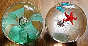 Pair of Glass Flower and Fish Paperweights + Bonus (Image1)