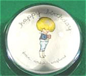 Anglund Glass Paperweight - Happy Birthday - Vintage (Image1)