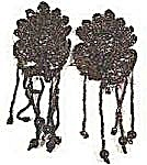 Antique Glass Bead Appliques - Brown Iridescent - Pair