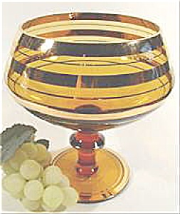 Art Glass Compote - Amber With Gold Bands - Vintage