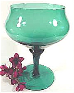 Art Glass Compote - Teal Green - Vintage (Image1)