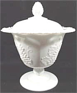Westmoreland Glass - Paneled Grape Milk Glass Pattern- Belled Vase
