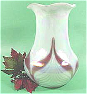 Fenton Art Glass Iridized Pulled Leaf Vase - 1998