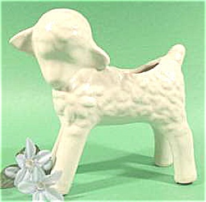 White Matte Glaze Lamb Pottery Planter - Shawnee ?