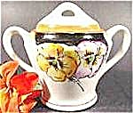 Oriental Porcelain Sugar Bowl With Lid - Pansies