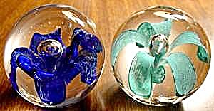 Glass Turquoise And Cobalt Flower Paperweights - Pair