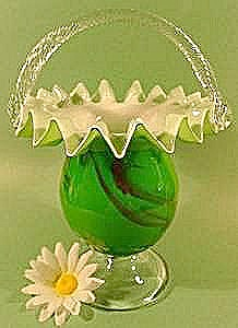 Green And White Art Glass Basket - Cased Glass