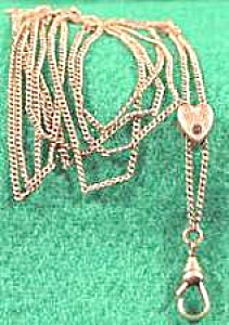 Gold Filled Victorian Watch Chain and Heart Slide (Image1)