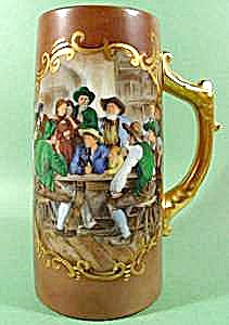 Hand Painted Porcelain Tankard - Signed Weaver