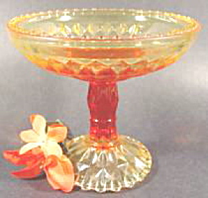 Amberina Glass Compote - Diamond And Square Pattern