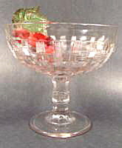 Early Glass Compote - Open Plaid - Central Glass 1885