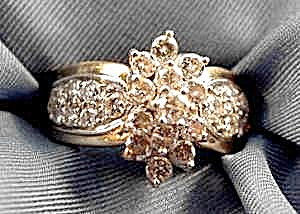 14K Y.G. Diamond Cocktail Ring - Size 8 - Estate Find (Image1)