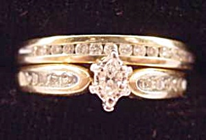14k Y.g. Marquise Diamond Wedding Ring Set - Size 8