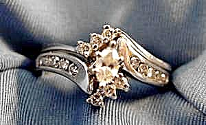 14k W.g. Marquise Diamond Wedding Ring Set - Size 7