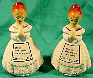 Praying Maidens Salt And Pepper Shaker Set