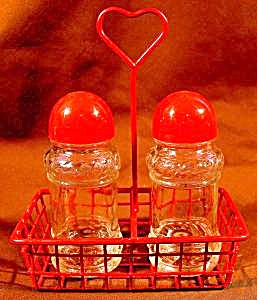 Salt And Pepper Shaker Set In Wire Basket