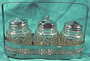 Condiment Set With Chrome Holder