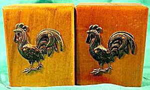 Wood Rooster Salt And Pepper Shaker Set