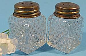Pressed Glass Shaker Set - Diamond Pattern