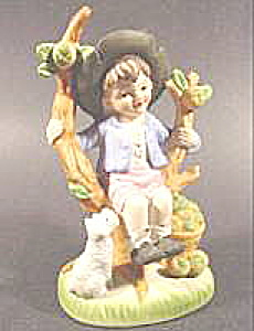 Figurines - Bisque Boy with Dog - Hummel Style (Image1)