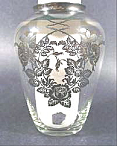 Art Glass Vase - Gold Overlay Floral Design - Rockwell