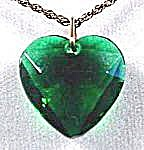 Costume Emerald Green Heart Pendant - 1950s (Image1)